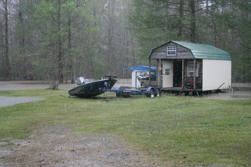 This is the Anacoco Lake RV Park off of HWY 8. I had this expensive bass boat photographed halfway underwater. I'm glad the boat didn't get away, but the owner will have a hell of a time getting it back on the trailer.